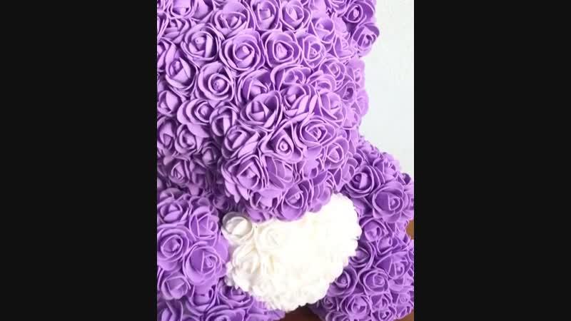 Фиолетовый мишка из роз