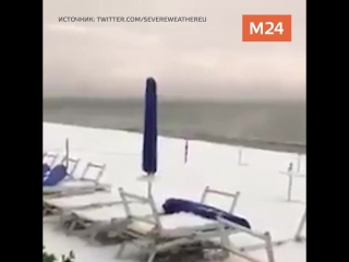 Снегопад обрушился на пляжи Лигурии