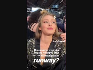 Gigi Hadid backstage at the Victoria's Secret Fashion Show 2018