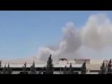 Очевидцы сообщают о двух мощных взрывах в районе военной базы САА у н.п. Кутфая в 15 км на северо-востоке от Дамаска.