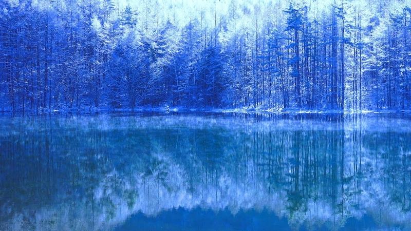 4K Japan 絶景自然映像 冬 御射鹿池 霧氷&けあらし&ダイヤモンドダスト Mishaka Pond of wi