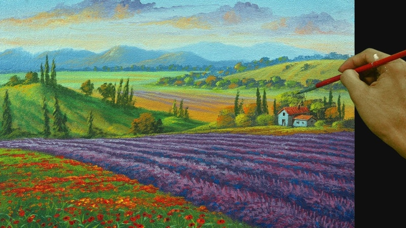 How to Paint Lavender Fields and Flowers in Tuscany using Acrylic