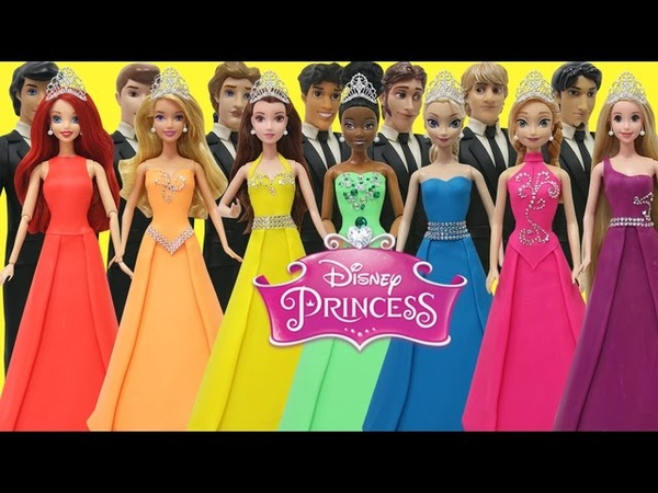 Play Doh Disney Prince and Princess Elsa Anna Ariel Tiana Aurora Belle Rapunzel Prom Outfits