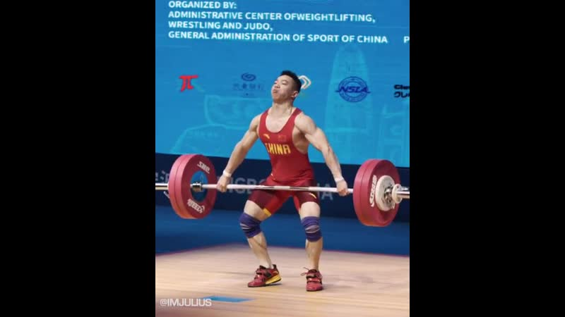 Qin Fulin (61kg) with a 136kg snatch