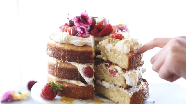 Coconut Eton Mess Cake with Whipped Ricotta Cream