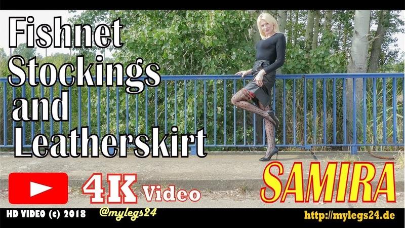 Fishnet Stockings and Leatherskirt [4K]