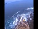 Полет над шотландскими скалами на птице