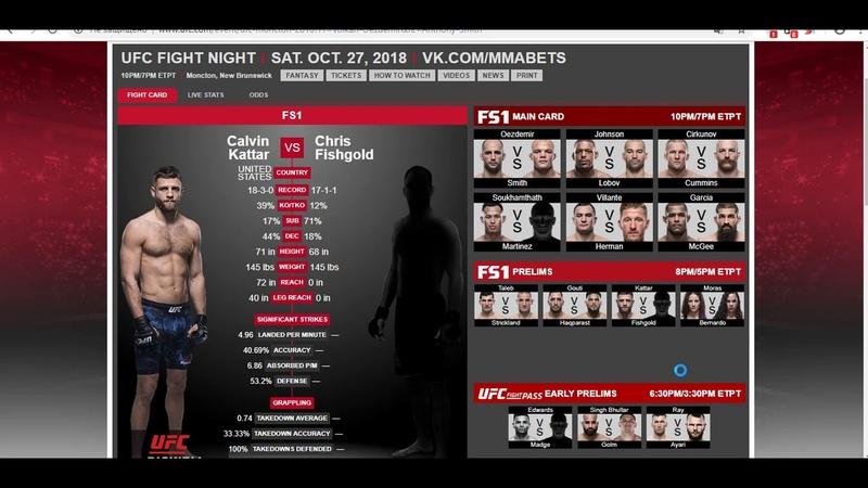 Прогноз и аналитика от MMABets UFC FN 138 Каттар-Фишгольд,Морас-Бернардо. Выпуск №121. Часть 26