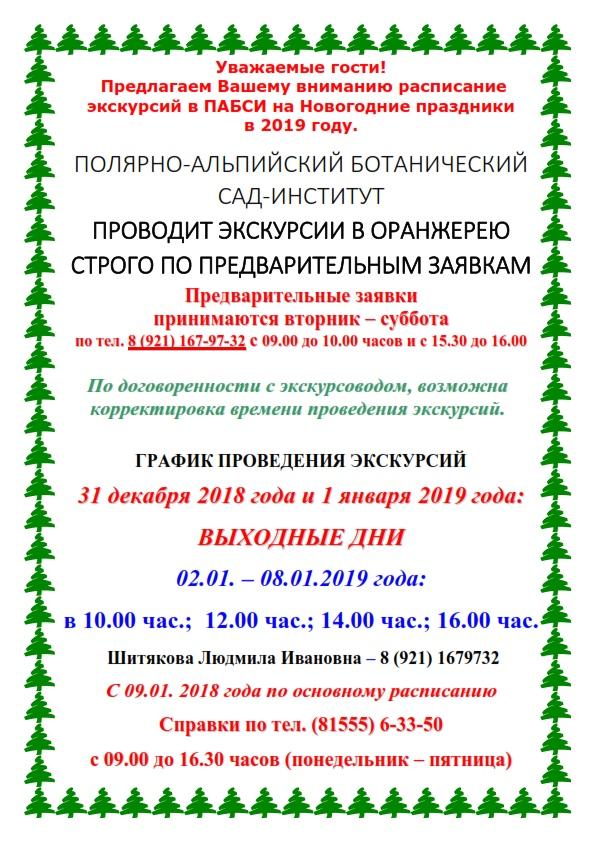 Расписание новогодних экскурсий в ПАБСИ