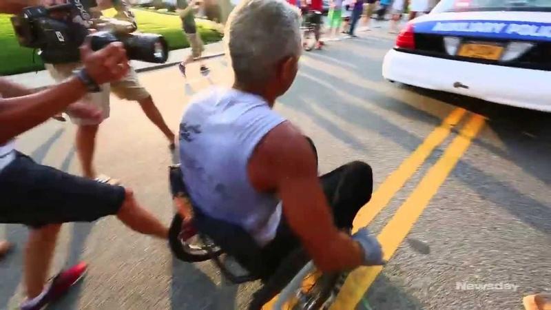 LIer finishes 99-day wheelchair marathon