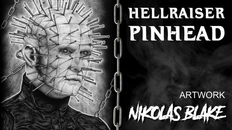 Pinhead Hellraiser Graphite pencil Drawing by Nikolas Blake
