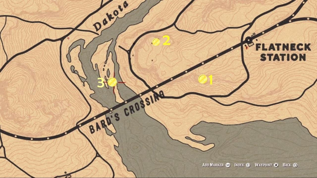 карта тайников Барда вRed Dead Online