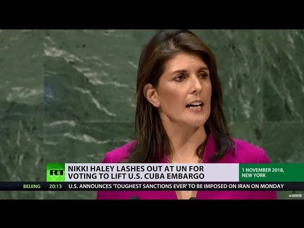 UN SUPPORTS LIFTING AMERICAN EMBARGO AGAINST CUBA, BUT US ENVOY DOESN'T AGREE.
