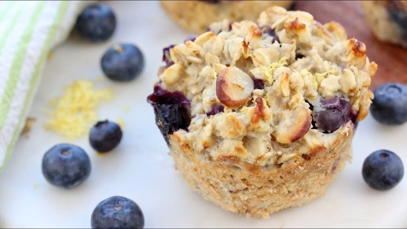 Baked Blueberry Lemon Oatmeal Muffin Cups Easy Healthy Breakfast Idea