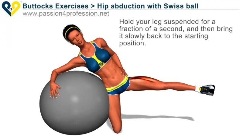 Упражнение на ноги Buttocks Exercises- Hip abduction with Swiss ball
