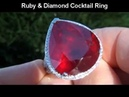 HUGE 42 37 Carat Ruby Diamond Cocktail Ring Don't Miss this one