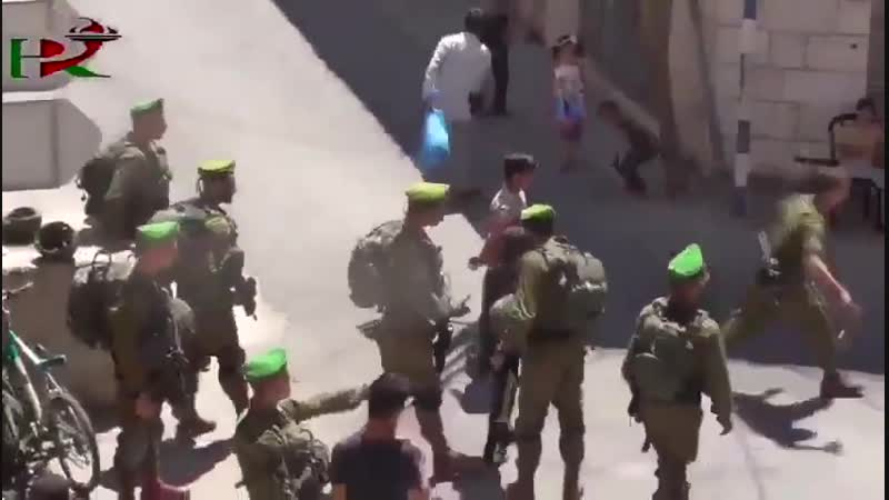 Courageous Palestinian children in Hebron attacked by Israeli soldiers, because they are trying t