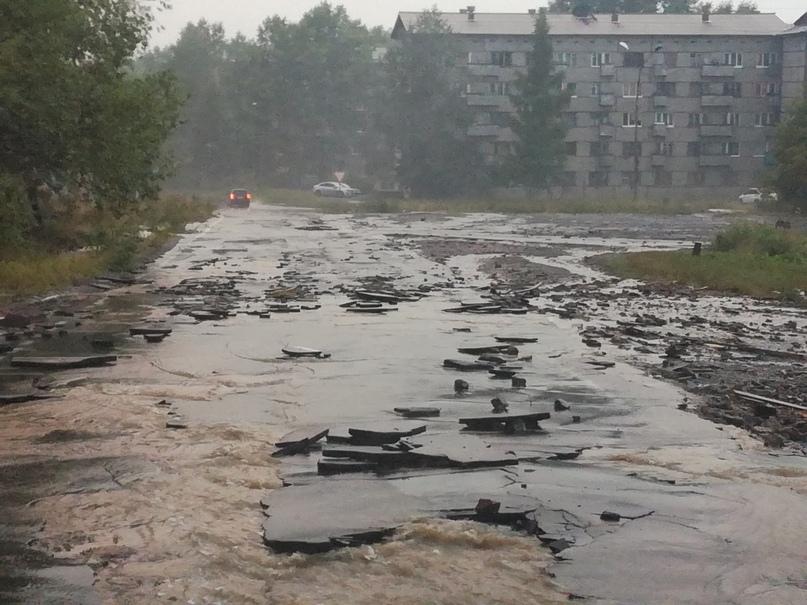 Последствия ливня в Усть-Илимске 18.08.2018
