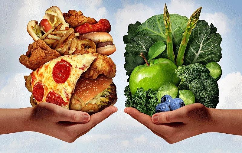 Здоровая пища против вредной еды