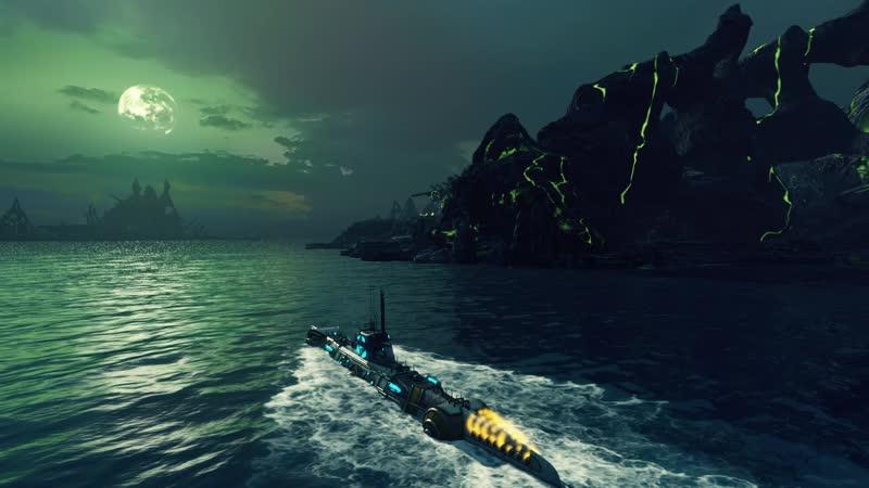 Вражеский эсминец вынырнул из под воды.