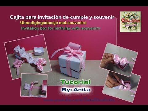 Cajita, invitación de cumpleaños con souvenir Uitnodigingsdoosje voor verjaardag met souvenirs