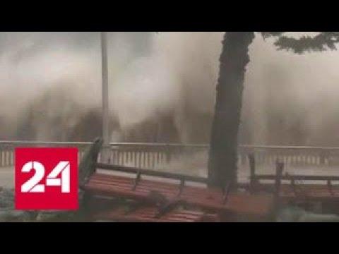 Летающие грузовики и вырванные деревья: Мангхут разбушевался - Россия 24