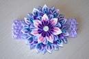 Фиолетовый цветок канзаши Мастер класс из лент DIY Flower Headband kanzashi ribbons handmade