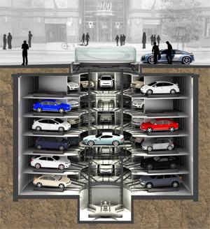Подземная система парковки в Китае.