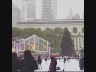 Первый снег в Нью-Йорке