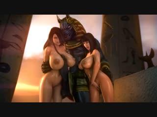 Rule 34 - 1boy 2girls 3d animal genitalia animated anthro anubis areolae arm grab armor ass back beastiality beauty mark belly b