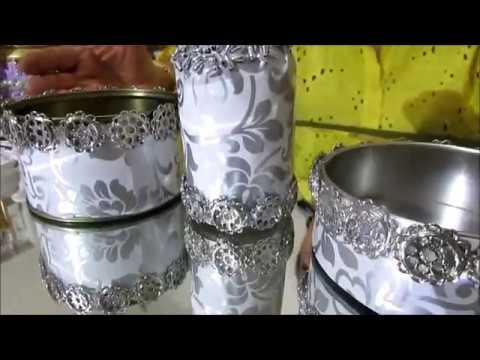 Reciclando Latas-Porta Trecos e Garrafinha Prateados