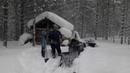 Мототолкач Ураган по свежему и глубокому пухляку в тайге. Снег до трусов.