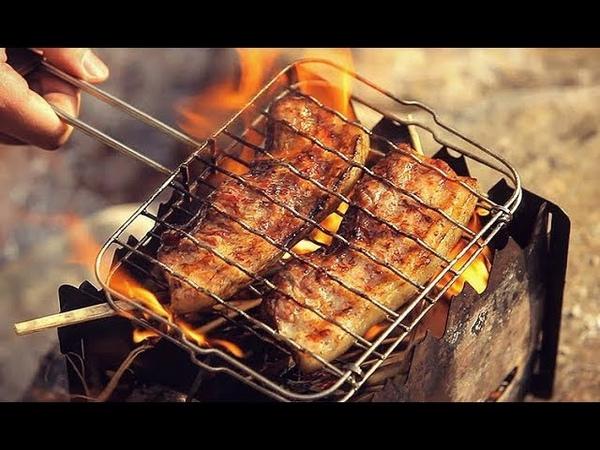 Pork Belly BBQ / Grill / Camping, Cooking / 짚불구이 짚불삼겹살 / 석쇠구이 삼겹살 / 직화구이 / 캠핑한끼