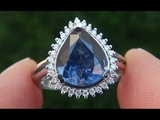 Certified Jewelry UNHEATED Natural Blue Sapphire Diamond 14k White Gold Engagement Ring - A141705