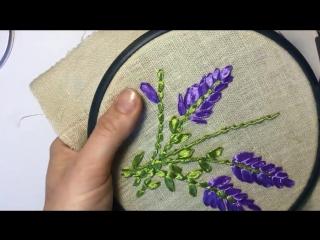 Лаванда вышитая атласной лентой _ lavender embroidered with satin ribbon