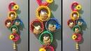 DIY Coconut fibre craft idea/old bangles craft idea / Best out of waste/woolen wall hanging idea