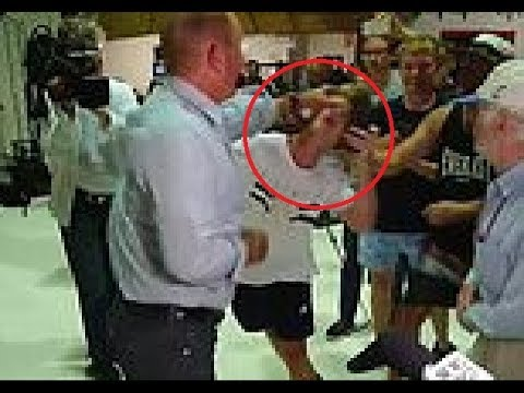 Dramatic moment Fraser Anning punches young man after being egged at a protest rally