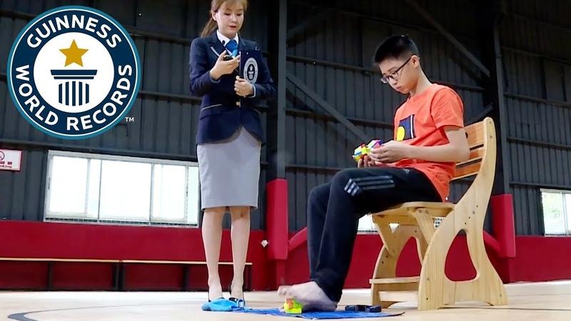 Fastest time to solve 3 Rubik's cubes with hands and feet Guinness World Records Day 2018
