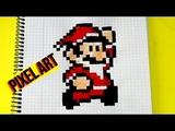 How to draw Super Mario Papa Noel- PIXEL ART
