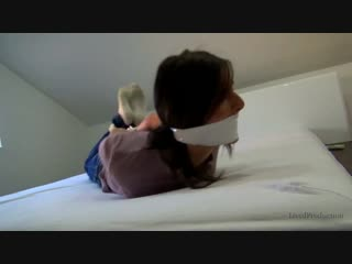 LivedProduction  Jessie hogtied in bed white wrapgagged