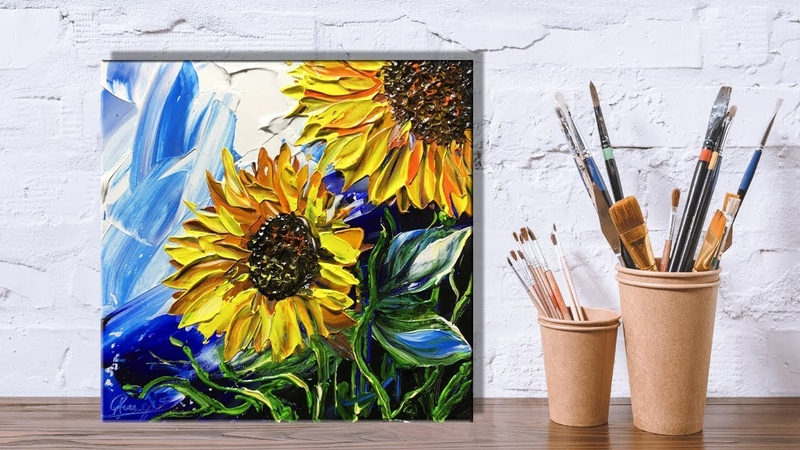 Paint sunflowers using a Palette Knife Painting Part 1