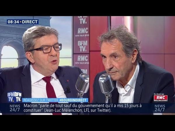 Jean Luc Mélenchon face à Jean Jacques Bourdin : perquisition musclée chez La France Insoumise 17/10
