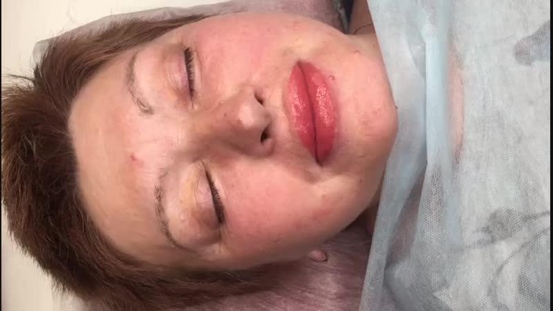 Перманентный макияж губ, исправление ассиметрии