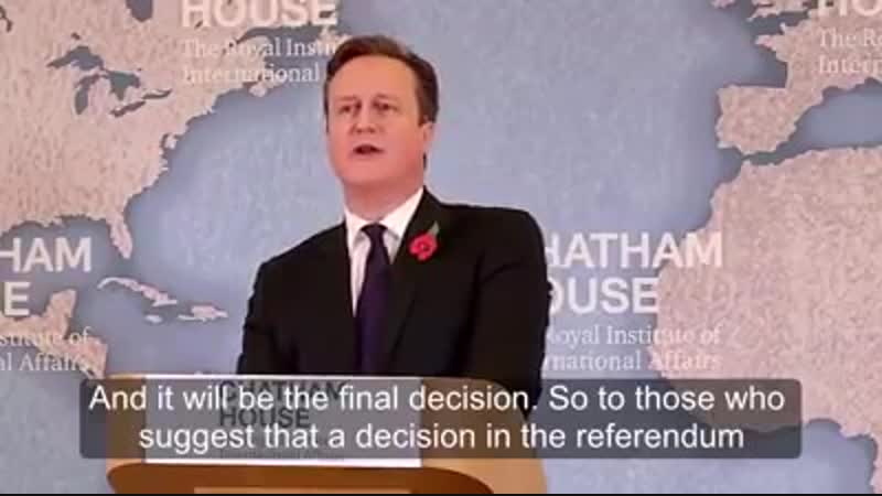 Cameron Once in a Lifetime Brexit Vote
