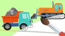 БИБИКА- Машины на Стройке - Мультик раскраска про Машинки для мальчиков