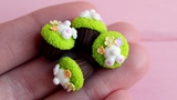 Miniature Easter cupcakes. Made of polymer clay. Tutorial. DIY. Пасхальные кексы из пластики.