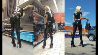 DANA LABO boots my passion - walk in pvc leggings ass zip vs boots overknee mini skirt leather