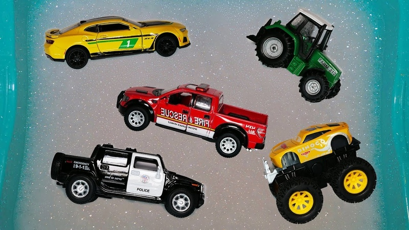 Cars for Kids, Learn Name Sounds Forklift, Police Car, Loader, Tractor, Combine. Toys for Kids