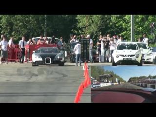 Bugatti Veyron vs. Nissan Juke R Russian Drag Race
