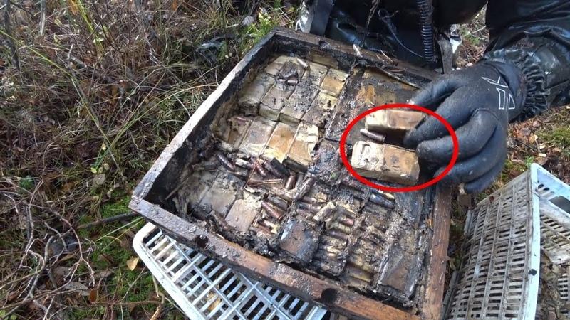Стоит нырнуть в болото и сразу Винтовки, ящики с патронами, поиск на металлоискатель и магнит